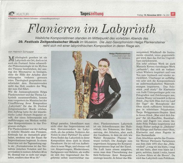 Tageszeitung 15 november 2013