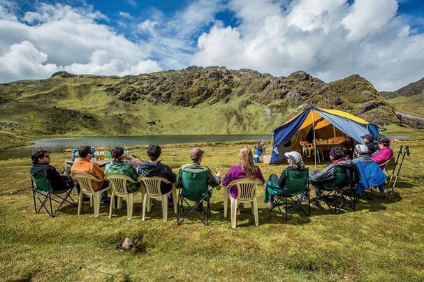 Mittagspause auf dem Lares Trek in Peru