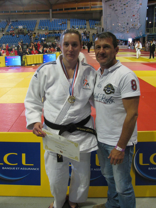 Anne-Laure Lecanu remporte la Coupe de France Seniors F -78 kg et son prof. Alberto Ramos