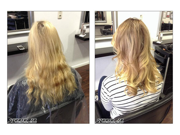 Coloration Haarfarbe Blond Bronde Balayage vorher nachher