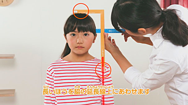道具シートから計測用のスケールを切り取って頭と首の高さを計りましょう。 / 西川の手作りキッズまくら