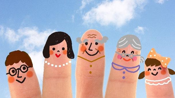 赤ちゃん、子供、お父さん、お母さん、高齢者が家族で歯医者に通院します