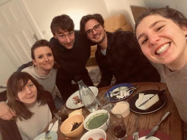 v.l.n.r. Alexandra Praet (Tonfrau), Virginia Martin (Produzentin), Michael Fetter Nathansky (Autor, Regisseur, Produzent), Valentin Selmke (Kameramann), Anna-Sophie Philippi (Produzentin)