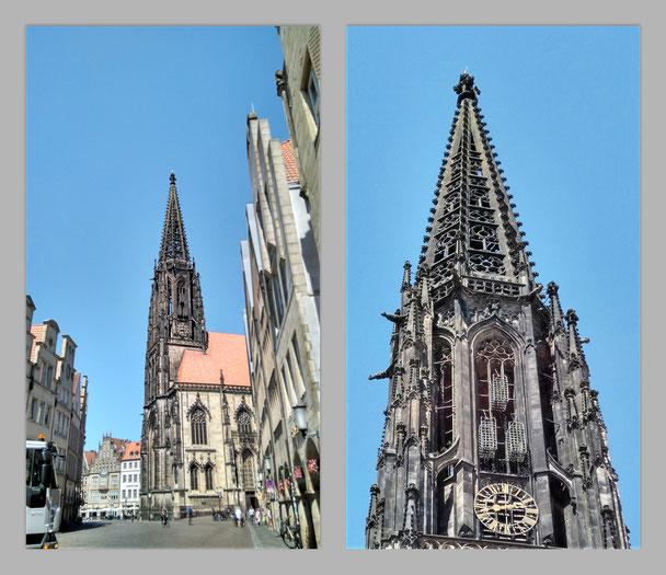 anklicken zum vergrößern: Turm der Lamberti-Kirche mit den drei eisernen Körben, in denen 1536 die Leichname  von drei Wiedertäufern nach Folterung und Hinrichtung ausgestellt wurden - um sie nie wieder herauszuholen