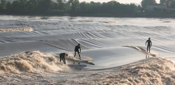 Surfeurs sur le Mascaret de la Dordogne