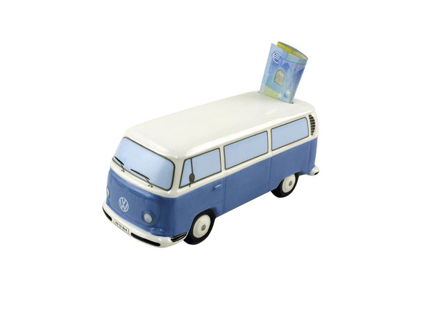 VW T2 BUS SPARDOSE KERAMIK (MAßSTAB 1:22) IN GESCHENKBOX - BLAU
