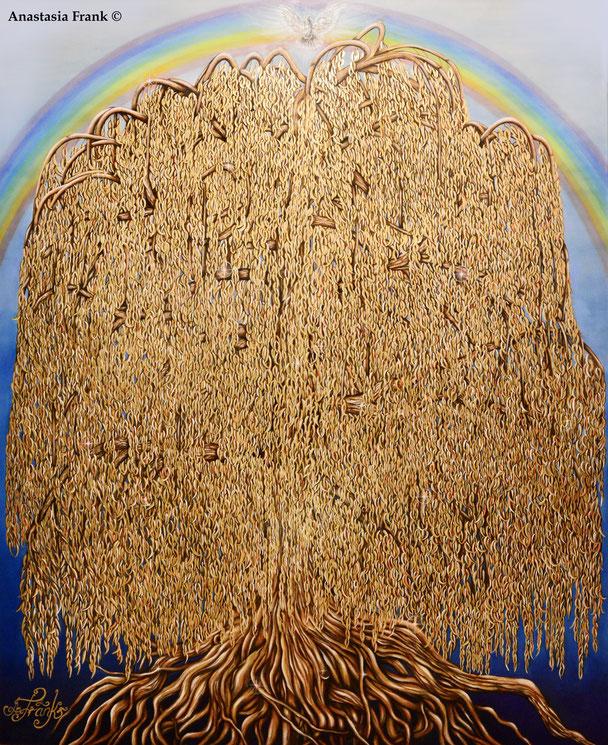 The Golden Tree of Life, 180 x 220 cm, oil on canvas + gold liquid 24 carat, different metallic colours (2014), Anastasia Frank