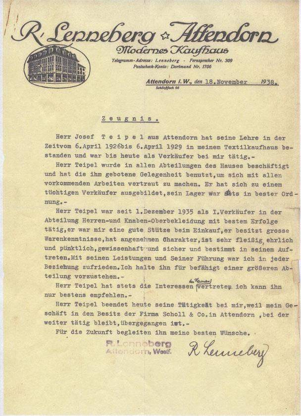 Arbeitszeugnis des Kaufhauses Lenneberg vom 18.11.1938