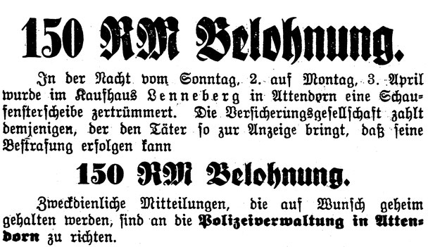 Attendorner Volksbaltt vom 4. April 1933