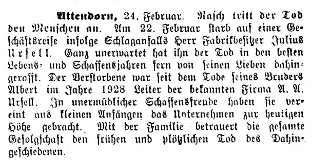 Todesanzeige Julius Ursell aud dem Attendorner Volksblatt vom 25.02.1936