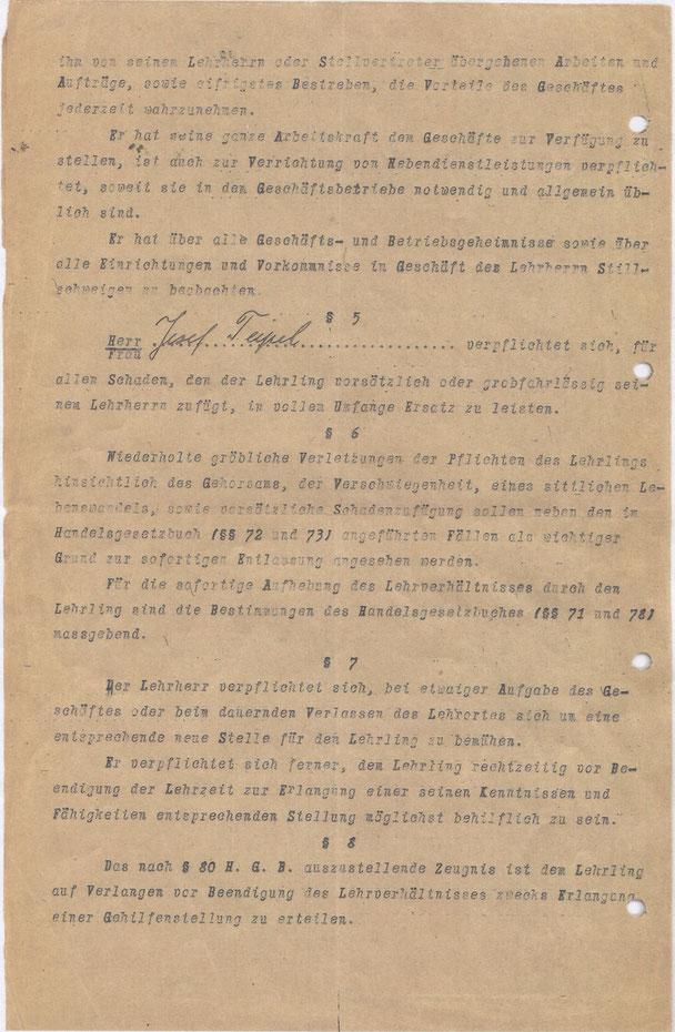 Ausschnitt aus dem Lehrvertrag des Kaufhauses Lenneberg aus Attendorn aus dem Jahr 1926