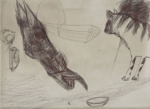 Le chat d'Ulysse / 2004 / Stylo sur papier / Collection privée
