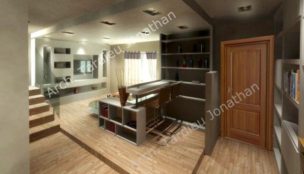 Vista 3d piano terra - zona soggiorno