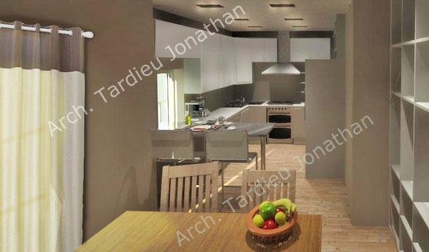 Vista 3d piano terra - zona cucina