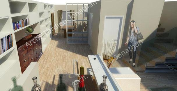 Vista 3d piano terra - zona soggiorno e cucina