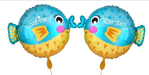 Ballon Luftballon Heliumballon Deko Dekoration Überraschung Mitbringsel Ballonpost Ballongruß Versand verschicken Helium Hochzeit Braut  mit Namen personalisiert Personalisierung Geschenk Idee Bräutigam Fisch Kugelfisch Angler Angel Hobby