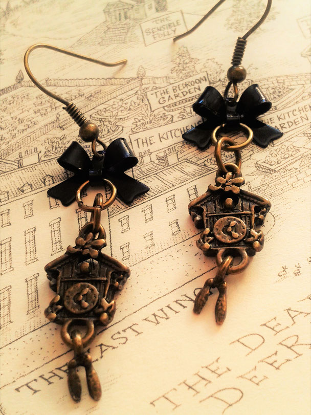 Steampunk Cuckoo Clock Earrings with Black Bows