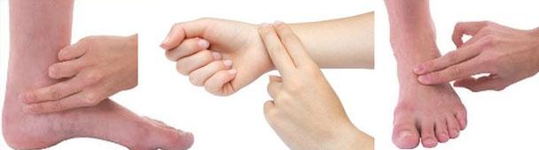 Puntos de medida del pulso en caso de uso de torniquetes