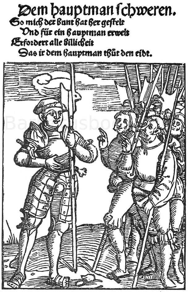 Schwören der Landsknechte. Holzschnitt aus Murner, Großer lutherischer Narr. Straßburg, Grienninger 1522.