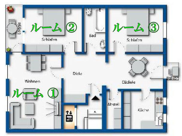 レイアウト見取り図としては正確ですが、家具はイメージになります。