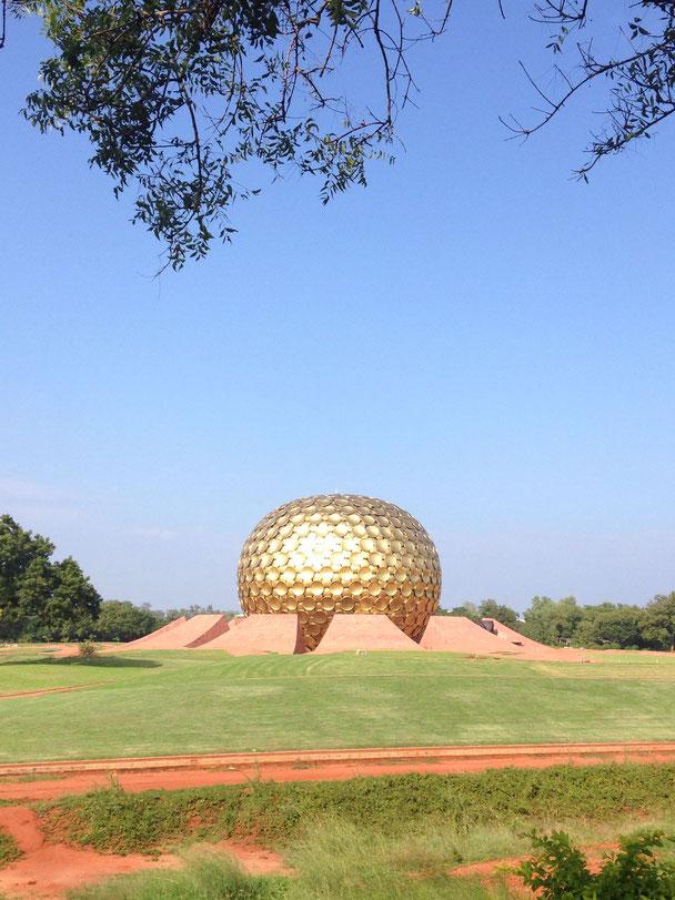 Le Matrimandir, ashram de Sri Aurobindo, Auroville.