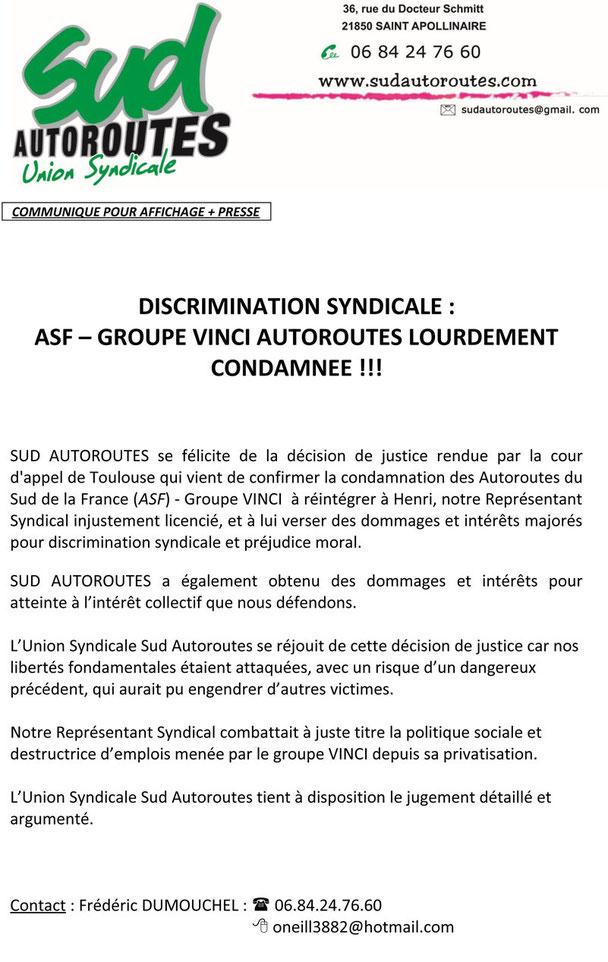 SUD Autoroutes, groupe VINCI lourdement condamné.