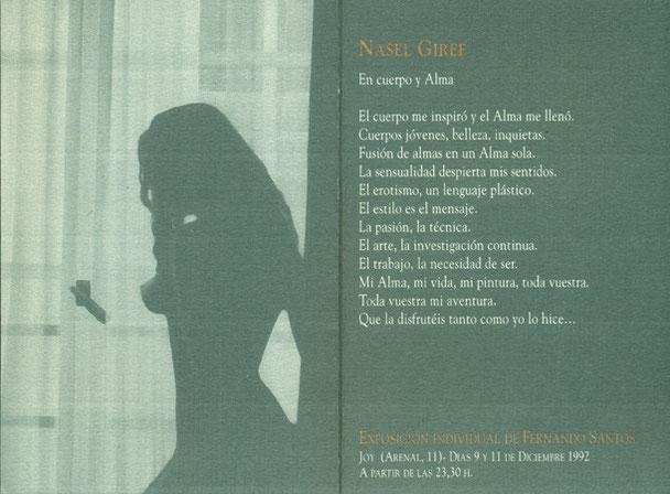 Exposición Individual de Nasel, Joy Madrid 1992