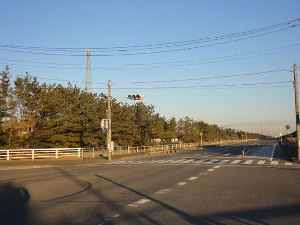 左手の林の向こうがキャンプ場。真っ直ぐな道路と平行に隣接。