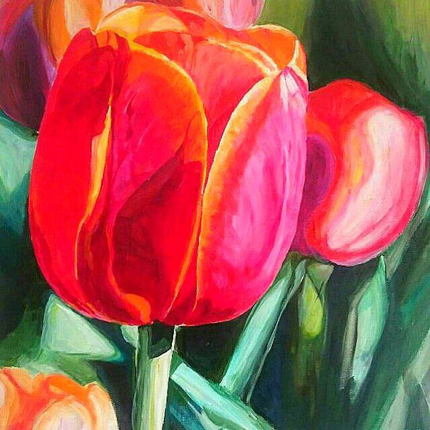 Tulipes Roses, 90 x 90 cm, Acryl auf