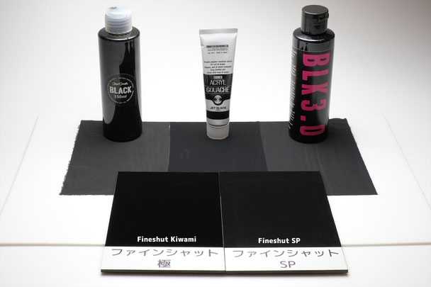 Comparison between fineshut/fineshutkiwami and black paints(black2.0/jetblack/black3.0