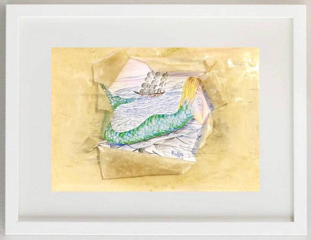 57 / RAFFAELA ZAMBRANO, Sogno di marinaio, 2020, matite colorate, 30 x 20