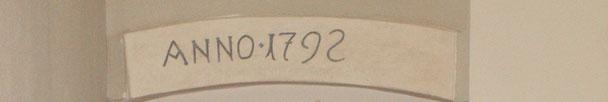 Inschrift in unserer Kirche mit Erbauungsjahr