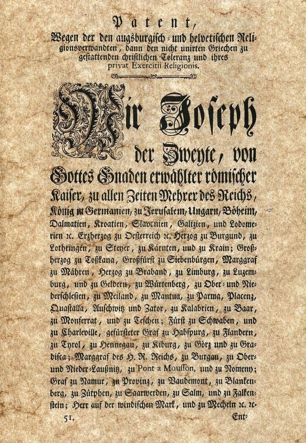 Toleranzpatent 1781, Titelseite