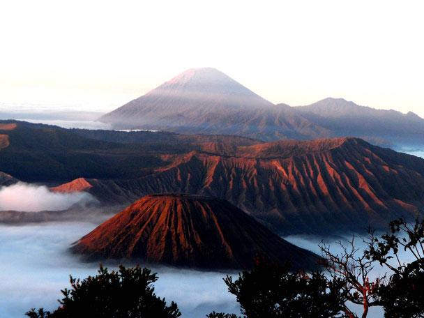 uitzicht over de Bromo en Semeru vulkaan oost Java