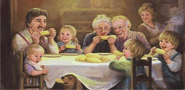 Ilustración de familia comiendo mazorcas