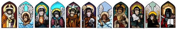 glas in lood heilige aapjes door rianne willemsen utrecht. stained glass monkeys