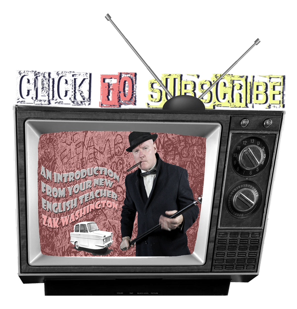 click to subscribe graphic of vintage TV for Learn English with Zak Washington Youtube channel