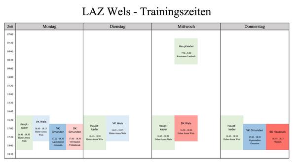LAZ  Wels - Wochenplan der Trainingszeiten in der Freiluftsaison während der Schulzeit