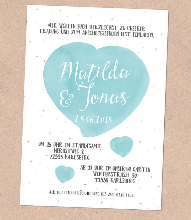 Hochzeitspapeterie, schlicht, modern, schön, einfache Karte, Hochzeitseinladung, Kraftpapier, Juhu, Papeterie, Karlsruhe, dicke Karte, seidenmatt