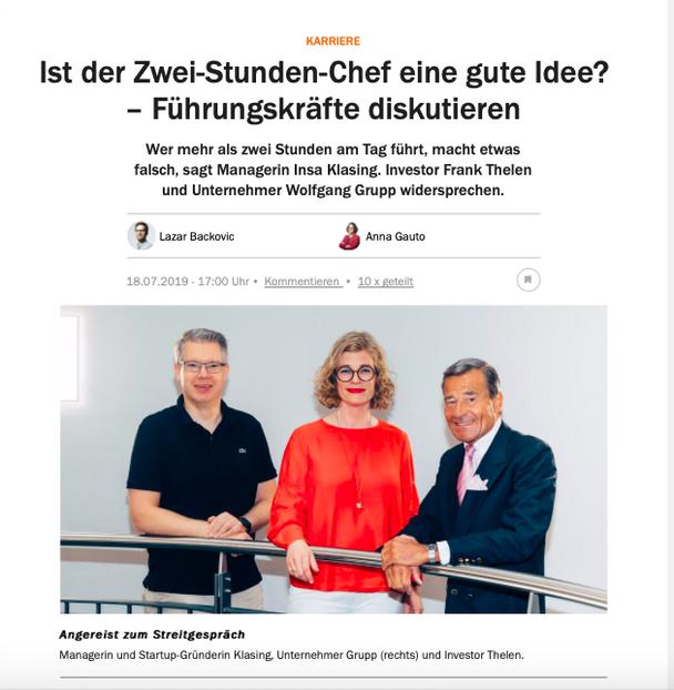 Streitgespräch mit Frank Thelen, Insa Klasing und Wolfgang Grupp im Handelsblatt
