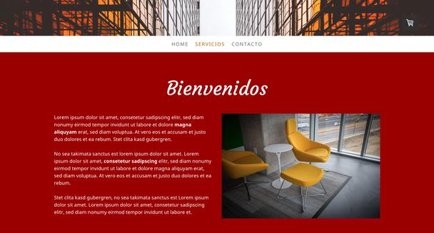 Ejemplo de página web con texto blanco sobre fondo rojo.