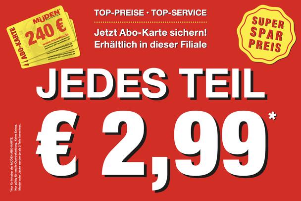 mueden.de, aktuelle Werbung, rote Schaufensterbeschriftung GHF, jedes Teil € 2,99