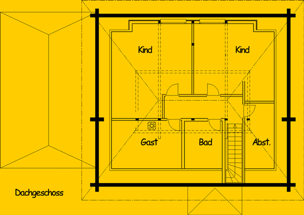 Blockhaus Barsinghausen: Wohnfläche OG 60,5 m² - © Blockhaus-Profi