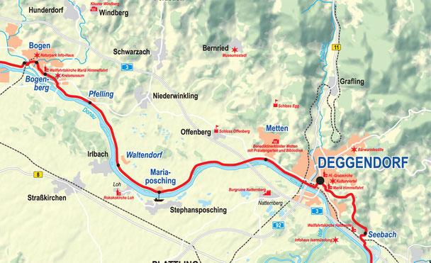 Vergrößerbare Karte Etappe Bogen bis Deggendorf