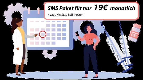 Terminerinnerung Recallmanagemetn Recall Recallsystem Praxissoftware Arztsoftware SMS Paket Websms Erinnerung per SMS Patientenerinnerung