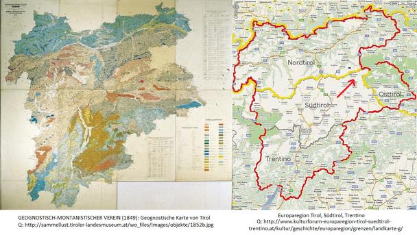 Links: Geognostische Karte von Tirol, Geognost.-montanistischer Verein (1849). Rechts Europaregion Tirol, Südtirol, Trentino