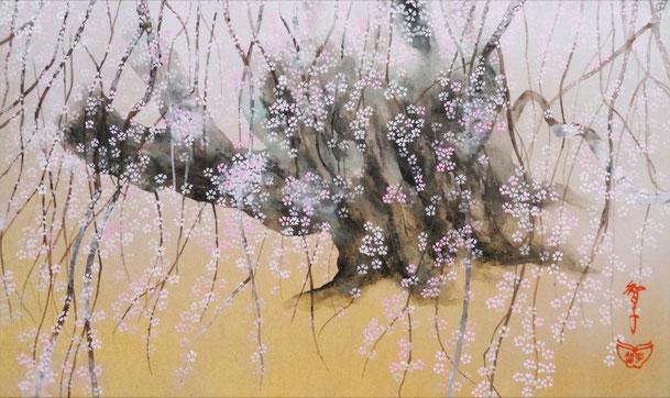 「美しき桜」 紙本岩彩 M8