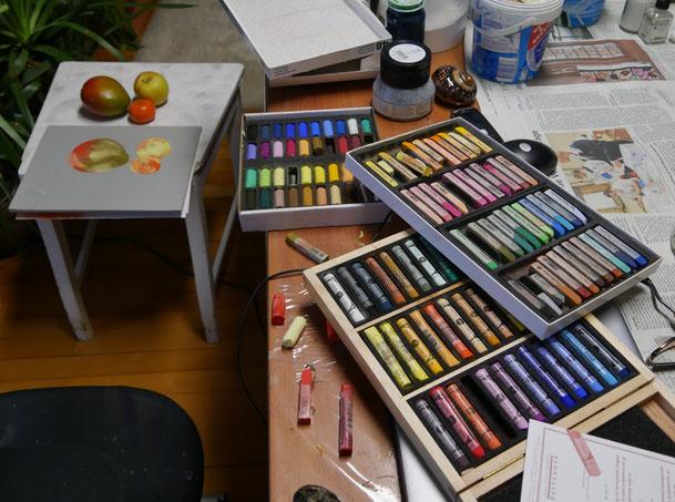Blick in das Atelier - hier male ich ein Stillleben