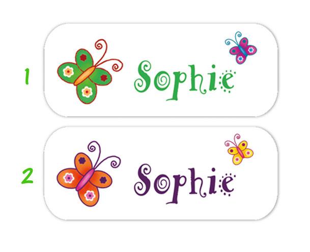eckige Namensaufkleber, Motiv: Schmetterlinge,  hochwertige, umweltfreundliche PVC-freie Folie