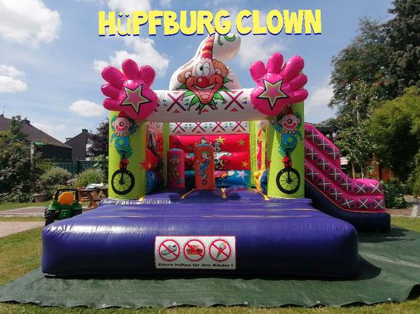 Hüpfburg Clown mit Rutsche   Hüpfburgen Niederrhein  Mönchengladbach